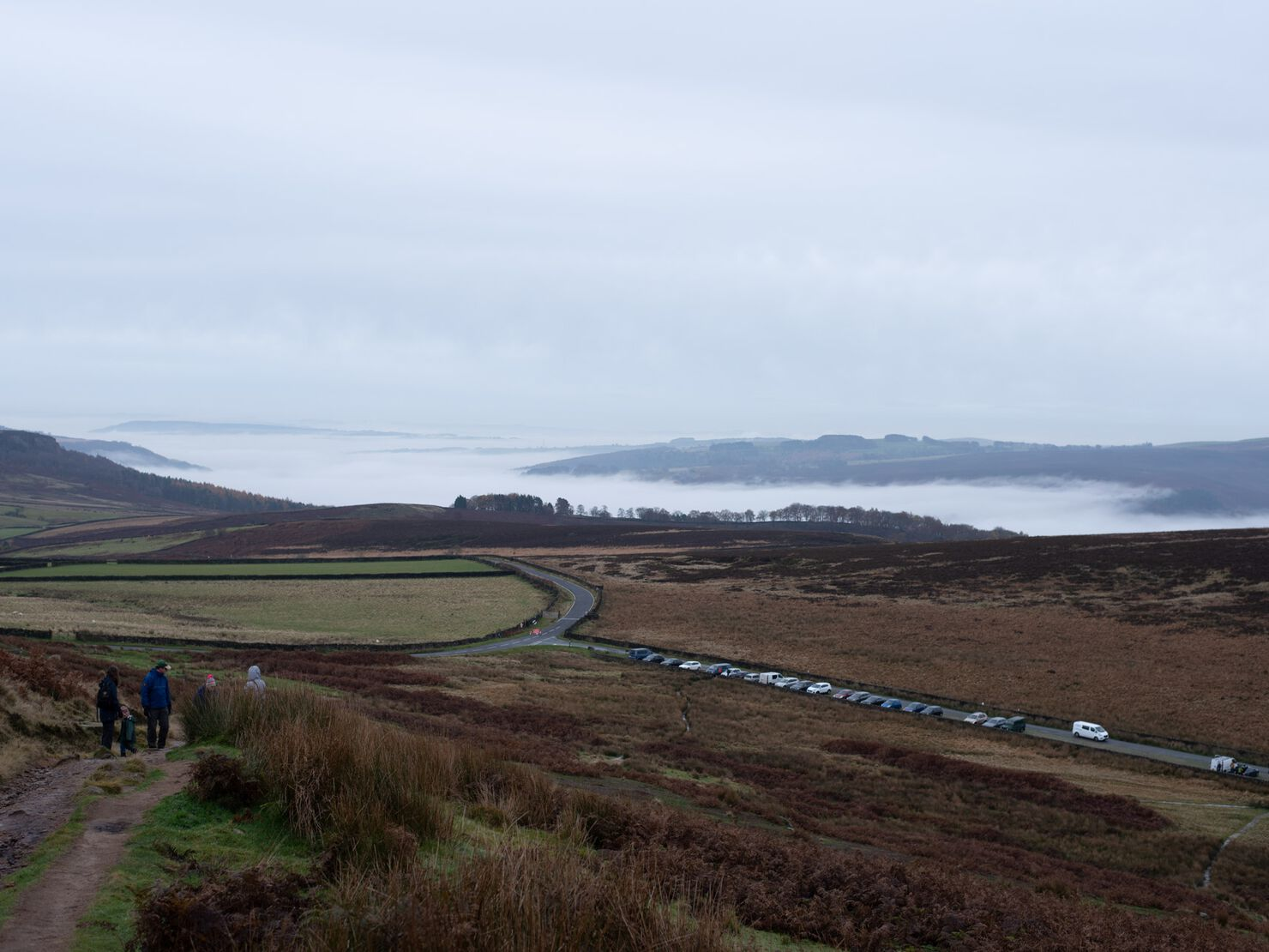 Climbing up to Stanage Edge on a misty Saturday morning